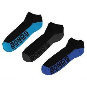 Bonds Mens Logo Low Cut Sock 3-Pack S822DX Assorted