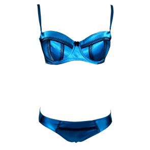 Bassoni Satin Balconette Bra Set 9282 Teal
