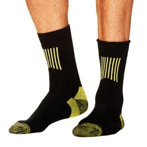 Tradie Cotton Crew Socks 2 Pack Black/Fluro Yellow MJ21608BW2