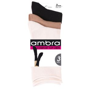 Ambra Comfy Top Crew Socks 3-Pack ACOSO3P Taupe/White/Black Multi-Buy