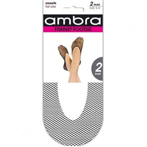 Ambra Fishnet Footsie 2-Pack AFIFOO2 Black