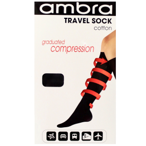 Ambra Qantas Travel Sock AQATRASO Black