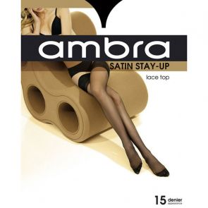 Ambra Satin Stay Up AMBSUST Almost Black Multi-Buy