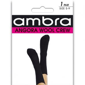 Ambra Angora Wool Crew Socks AMWACR Black Multi-Buy