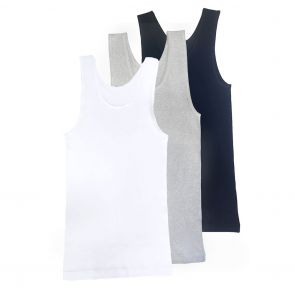 Tradie Boys 3-Pack Rib Singlet BJ3026SC3 White/Grey Marle/Navy