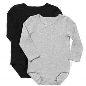 Bonds Wonderbodies Long Sleeve Bodysuit 2-Pack BXW7A Black and Grey
