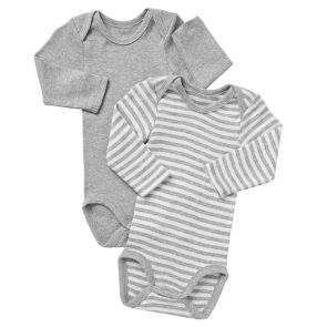 Bonds Baby Long Sleeve Bodysuit 2-Pack BZKE New Grey Marle/White