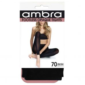 Ambra Footless Opaque Tights FOOTI Black Multi-Buy