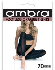 Ambra Footless Opaque Tights FOOTI Black Multi-Buy