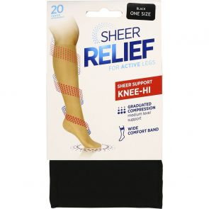 Sheer Relief Sheer Support Knee Hi H33085 Black Multi-Buy