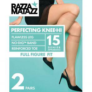 Razzamatazz Curvaceous Sheer Elastane Knee High 2-Pack H80016 Black Multi-Buy