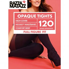 Razzamatazz Curvaceous 120D Perfectly Matte Opaque Tights No-Dig Waist H80028 Black Multi-Buy