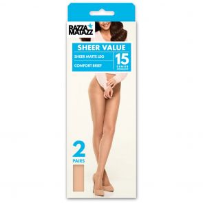 Razzamatazz Regular Brief Pantyhose 2-Pack H80034 Tan Multi-Buy