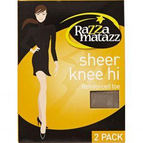 Razzamatazz Sheer Nylon Knee High 2 Pack H80043 Grey Multi-Buy