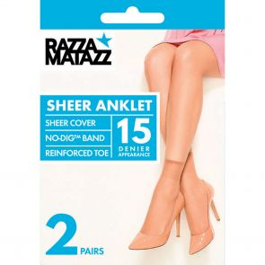Razzamatazz Sheer Nylon Anklet 2-Pack H80044 Tan Multi-Buy