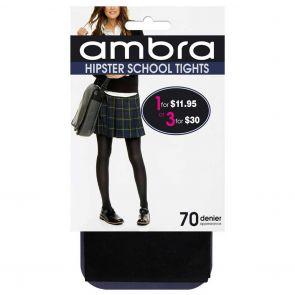 Ambra Opaque Hipster School Tights HIPTI Classic Black Multi-Buy