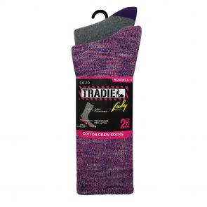Tradie Lady 2-Pack Cotton Crew Sock L22223BW Pink/Purple Marle