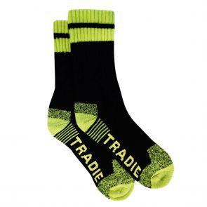 Tradie Mens 3-Pack Acrylic Work Socks M22530BW Black/Fluro Yellow