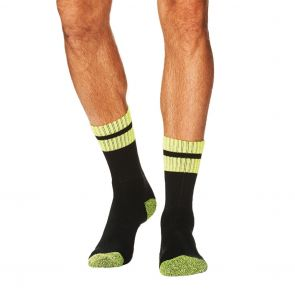 Tradie Mens 3-Pack Acrylic Sock M22530BW Black/Fluro Yellow