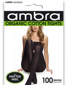 Ambra Organic Cotton Cable Rib Tights ORGCCRT Black Multi-Buy