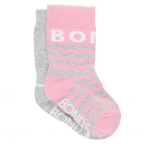 Bonds Baby Pattern Crew 2-Pack R6503N Pink and Grey