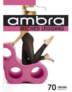 Ambra 70D Ruched Footless Tights AMBRUCLEG Black