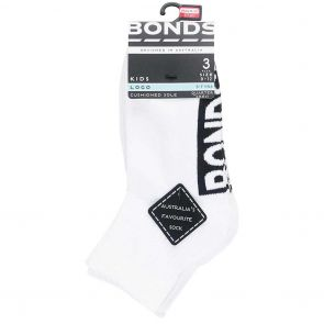 Bonds Kids Stamp Logo 1/4 Sock 3-Pack RY9V3N White