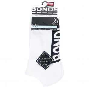 Bonds Kids Stamp Logo Low Cut 3-Pack RY9W3N White