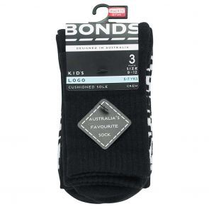 Bonds Kids Stamp Logo Crew Sock 3-Pack RY9X3N Black