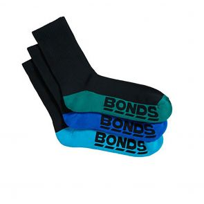 Bonds Logo 3 Pack Crew Socks S8223T Black