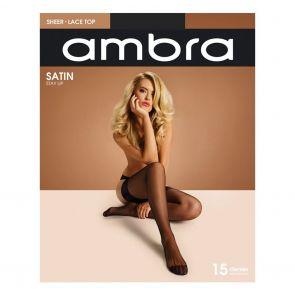 Ambra Satin Stay Up AMBSUST Almost Black Multi-Buy
