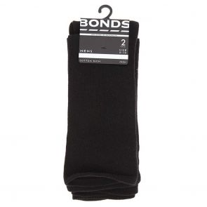 Bonds Mens Stay Up Crew 2 Pack SXXY2N Black