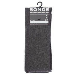 Bonds Mens Stay Up Crew 2 Pack SXXY2N Charcoal Marle