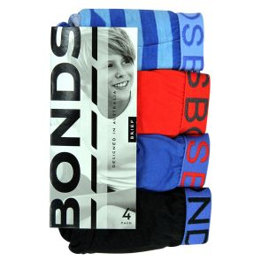 Bonds Boys Multipack Print/Plain Briefs 4-Pack UZXK4 Blue Stripe