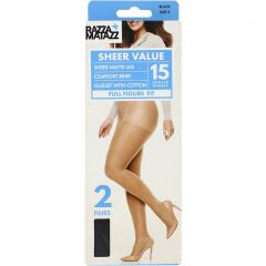 Razzamatazz Curvaceous Everyday Pantyhose 2-Pack H80035 Black Womens Hosiery