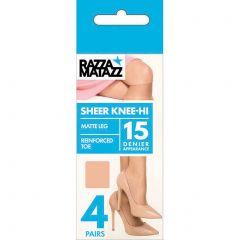 Razzamatazz Pairs & Spares Knee-High 4-Pack H80042-Black Womens Hosiery