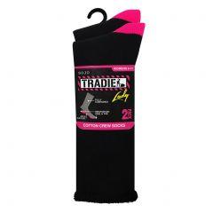 Tradie Lady 2-Pack Cotton Crew Sock L22223BW Black/Pink Womens Underwear