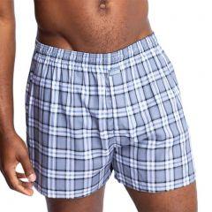 Jockey Weekender Woven Boxer MXHN1A Checks Blue Mens Underwear