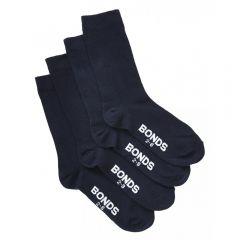 Bonds Kids School Oxford Crew 4 Pack Socks R640OO Navy Kids Socks