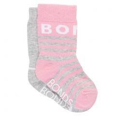 Bonds Baby Pattern Crew 2-Pack R6503N Pink and Grey Baby Socks