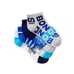 Bonds Boys Fashion Trainer Socks 4-Pack RZLY4N Blue/Grey/White Boys Socks