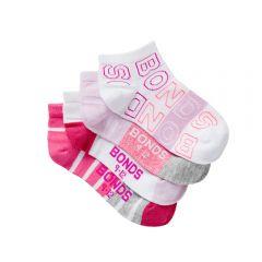Bonds Girls Fashion Trainer Socks 4-Pack RZLY4N Pink/White Girls Socks