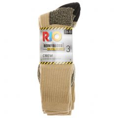 Rio No Hole Work Crew 3-Pack S74583 Taupe Mist White Mens Socks