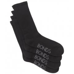 Bonds Mens Very Comfy Crew 2PK SZFP2N Black Mens Socks
