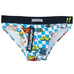Undertoys Words Brief Blue and White Check