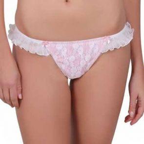 Bassoni Lace Royale G-String 9218G White/Pink