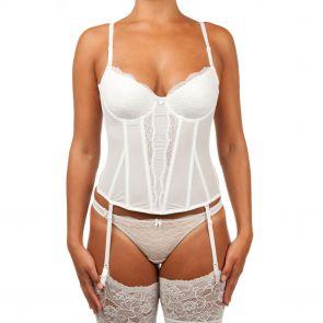 Bassoni Bridal Lace & Mesh Corset 9225BC White