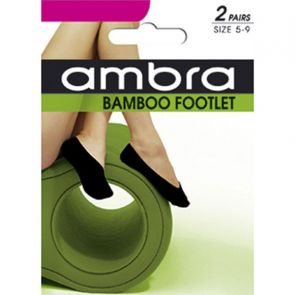Ambra Bamboo Ecostyle Footlets 2-Pack ABAECFT2PP Black Multi-Buy