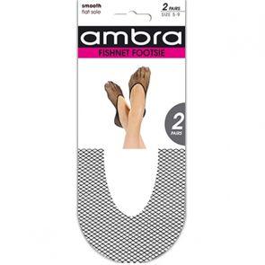 Ambra Fishnet Footsie 2-Pack AFIFOO2 Black