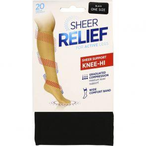 Sheer Relief Sheer Support Knee Hi H33085 Black Multi-Buy
